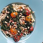 recette Pâtes fraîches aux épinards tomates pignons torrefiés