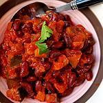 recette Aubergines épicées aux haricots rouges ( plat complet végétalien )