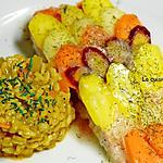 recette Saumon en papillote garni d'un arc-en-ciel de carottes et sauce Potier