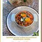 """recette Les œufs """"cocotte"""" coiffent des crevettes et des petits pois-carottes"""