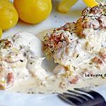recette Filet de cabillaud cuit à basse température servi avec une sauce aux crevettes grises