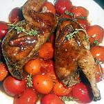 recette Cailles au banyuls et  abricots au thym