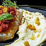 recette Cabillaud en crumble de chorizo noix de cajou et sa purée au maïs