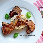 recette Côtes d'agneau cuites à basse température accompagnées d'un rizotto aux tomates séchées et olives noires