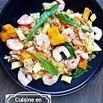 recette Salade de boulgour aux crevettes, patate douce, mangue et ananas