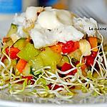 recette Salade de concombre, melon, poivron, mozzarella garnie de crabe