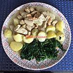 recette Poulet curry-coco aux noix de cajou et pommes de terre épinards