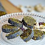 recette Barre énergétique aux dattes, pistaches, noix de cajou, cranberries, spiruline et acérola en poudre, vegan
