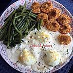 recette Œufs gratinés accompagnés de ses haricots verts au four et ses tomates à la provençale