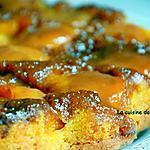 recette Gâteau renversé aux pêches caramélisées au caramel beurre salé Raffolé, pain de singe et combava