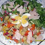 recette salade au 7 légume et au tranche de jambon de pulet (halal)