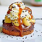recette Une tour de douceurs: crème dulcey, crème caramel, fondant au chocolat, sans cuisson