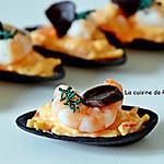 recette Amuse bouche coquille ébène et fruits de mer, ail noir et spiruline