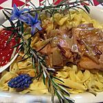 recette Lapin aux échalotes sur un nid de tagliatelle.