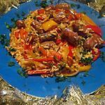 recette Une ritournelle de riz aux poivrons et merguez..