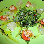 recette SAINT JACQUES POELEES EN SALADE VINAIGRETTE AUX AGRUMES ET AUX EPICES