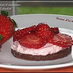recette Tartelettes aux fraises&mascarpone sur sablé chocolaté