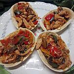 recette Panadillas garnis d'émincés de poulet et légumes du soleil.
