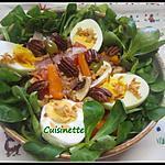 recette Sur un nid de mâche.œufs/légumes.
