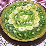 recette Tarte aux kiwis.bananes.sur une crème pâtissière.