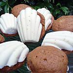 recette Madeleines au caramel au beurre salé sur coques au chocolat blanc