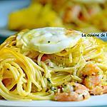 recette Cake de spaghetti aux crevettes roses et mozza