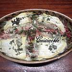 recette Haricots verts au jambon gratinés au camembert.