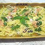 recette Spaghettis aux légumes.saumon fumé.poivrer.