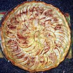 recette Tarte aux pommes cannelle sur un lit de compote rhubarbe