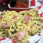 recette Spaghettis.omelette brouillée aux olives.jambon.échalotes.