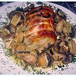 recette Rôti de porc aux champignons.