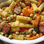 Macarrao Com Grao et choriço (Pâtes recette Portugaise légumes chorizo)