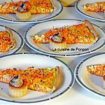 recette Tarte aux carottes râpées, gingembre, miel et graines de tournesol accompagnée de mini bouchées aux champignons des bois
