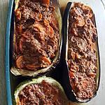 recette Aubergines farcies au bœuf carotte
