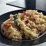 recette Risotto courgette, lardon, tomate séchée