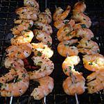 recette Brochettes de crevettes au barbecue