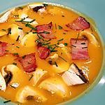 recette Soupe potimarron, patate douce, châtaignes, champignons et crispy de lard