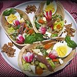 recette Tacos aux crudités,anchois,œufs,mozzarella,basilic.