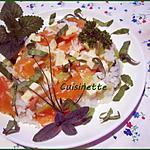 recette Riz aux courgette,filets de truite,mozzarella ,basilic.