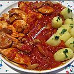 recette Aiguillettes de poulet aux champignons,sauce Napolitaine.
