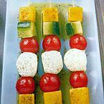 recette Brochettes de tomates, concombres, et mangues à l'huile de vanille