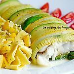 recette Filet de cabillaud enrobé de courgettes verte et jaune cuit à basse température