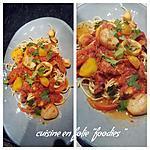 recette Pâtes aux fruits de mer sauce épicée aux poivrons