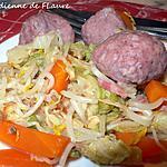 recette Chou chinois accompagné de boulettes de viande