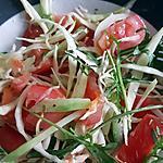 recette Salade minceur au choux blanc, concombre, tomates, avocat et roquette