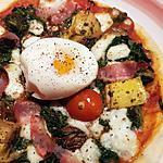recette Pizza épinards,lard, champignons,œuf coulant