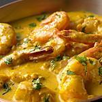 recette Crevettes au lait de coco et curry de Madras