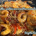 recette NOUILLES SAUTÉES AUX CREVETTES CARAMÉLISÉES