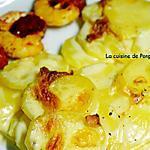 recette Gratin dauphinois (sans précuisson) servi avec des brochettes de scampis et chorizo