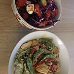 recette Salade de choux rouge et ses légumes sauté au poulet sur un lit de riz blanc